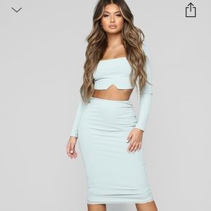 Fashion Nova Back to Basic Skirt Set - Sage